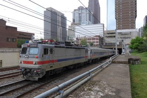 SEPTA AEM7 2303 with push-pull set in Philadelphia on June 3, 2015. Lumix LX7 photo.