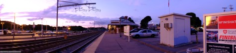 Panoramic composite of the MBTA station at Mansfield, Massachusetts. Exposed with a Fujifilm X-T1 digital camera.