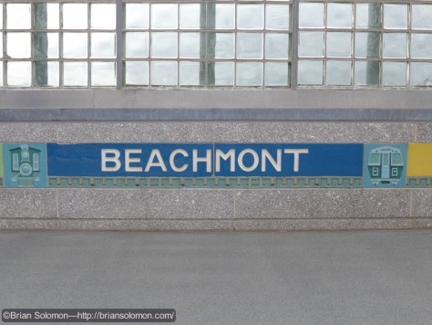 Beachmont Station incorporates visual elements that hark back to steam days on the BRB&L.