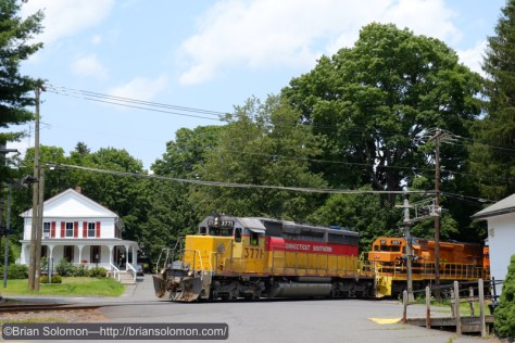 Connecticut Southern 3771 leads NECR job 611 south at Amherst, Massachusetts on July 6, 2015. FujiFilm X-T1 photo.