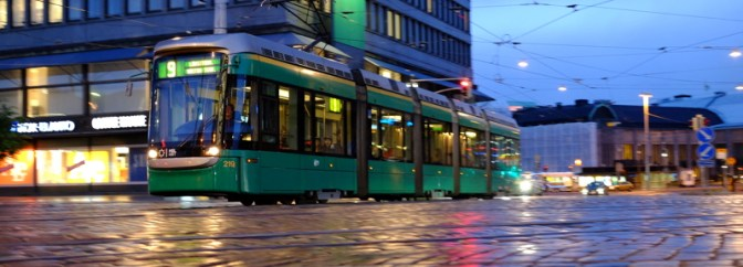 Extra Post: Helsinki Tram at Dusk in the Rain—July 21, 2015