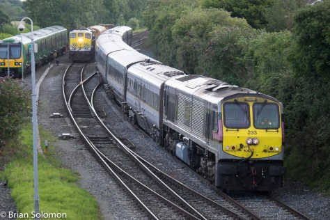 Irish Rail 233 leads the down Enterprise toward Belfast.