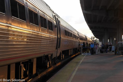Amtrak's Carolinian catches the glint of the morning sun at Charlotte, North Carolina.