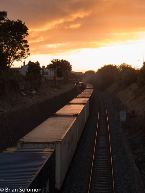 Containers into the sunset! 7:08pm, 23 September 2015. Irish Rail 233 on the IWT Liner at the Gullet in Dublin. Lumix LX7 photo