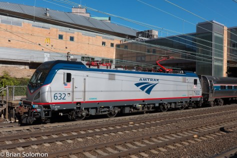 Amtrak ACS64 number 632 leads a Keystone train destined fro Harrisburg, PA.