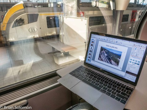 I made a few final adjustments to my program in Power Point on the train to Mons. Lumix LX7 photo (Photo on the computer is an image of the Southern Pacific on Donner Pass exposed with my old Leica M2).