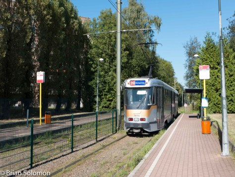 A PCC pauses at the Route 39 terminus at Ban-Eik. If you only had time to ride one tram route in Brussels, this might be a good one. It has interurban characteristics in addition to street running and heads a good distance out of the city. Lumix LX7 photo.