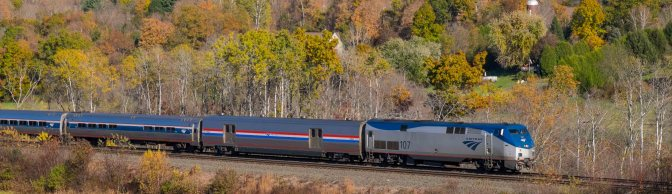Amtrak 449 with Autumn Foliage