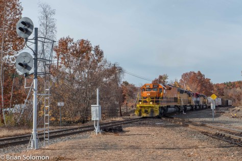 New England Central 611 cross in CSXT's former Boston & Albany at Palmer. Lumix LX7 Photo.