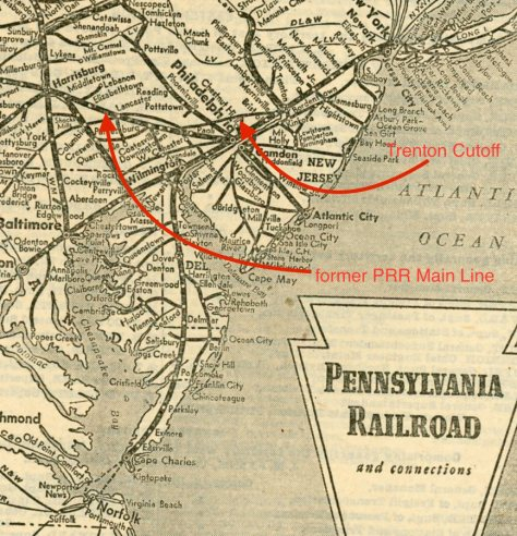 Vintage PRR map with key lines identified in red.