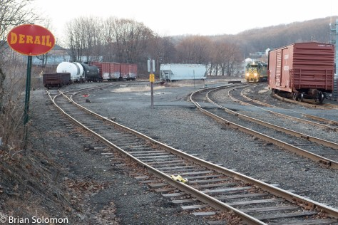 This is a similar view to the black & white image above, and aimed to include R&N's GP39RN. This could be a view of an R&N freight, or perhaps almost passable as a view of the Reading Company from the 1970s. Yet, its really a Santa Train excursion. CNJ 113 is at the back of the train. Lumix LX7 photo.