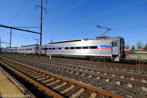SEPTA local 9714 makes a station stop at Levittown, Pennsylvania. FujiFilm X-T1 photo.
