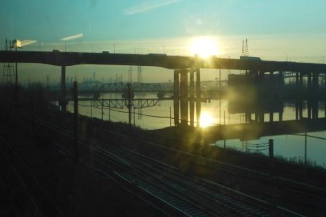 Sunrise at Newark, New Jersey, December 2015. Lumix LX7 photo.