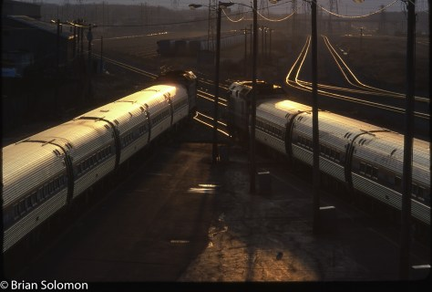 Amtrak Empire Corridor trains at Sunrise, Niagara Falls, NY. Exposed on Kodachrome.