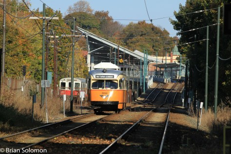 Looking toward Ashmont from Cedar Grove. The Mattapab-Ashmont trolley line serves as an extension of MBTA's Red Line. Exposed with a Canon EOS7D with 200mm lens.