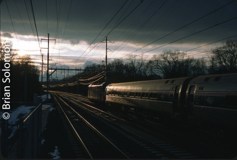 Amtrak train number 137 on the old New Haven Railroad electrified mainline at West Haven, Connecticut.