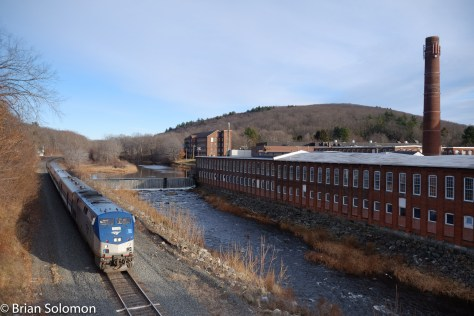 Amtrak 449 The Lake Shore Limited passes West Warren on December 28, 2015. Exposed with a FujiFilm X-T1.