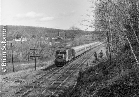 Moments after I exposed the classic view of this Montrealer working the old number 1 track, TV6 blasted east with intermodal piggybacks for Worcester and Springfield. I was using the Rollei with a 645 'Superslide' insert that allowed me 16 frames per roll.