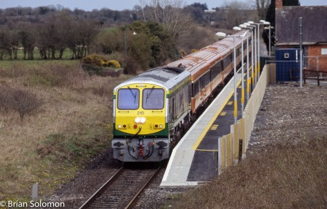 Freshly painted Irish Rail 215 at Attymon, Co. Galway.