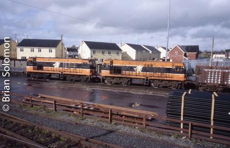 Irish Rail General Motors Bo-Bo diesels at Claremorris, County Mayo. Exposed on Fujichrome Film.