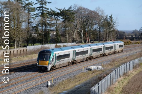 Milepost 8 3/4 as measured from Heuston Station, Dublin. Here an ICR passes en route to Portlaoise. FujiFilm X-T1 photo.