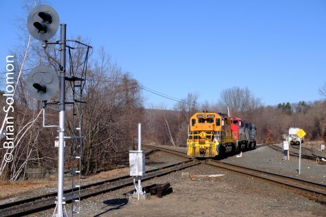 New England Central local freight crosses CSX's Boston & Albany line at Palmer.
