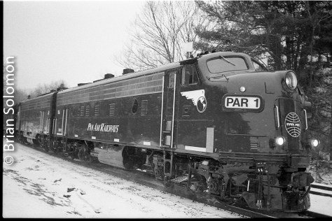 PAR-1 kicks up the snow on the old Boston & Maine Fitchburg line at Shelburne Falls, Massachusetts on the afternoon of February 15, 2016. Exposed on HP5 black & white film, processed with Kodak HC-110 and scanned with an Epson V600 flatbed scanner.