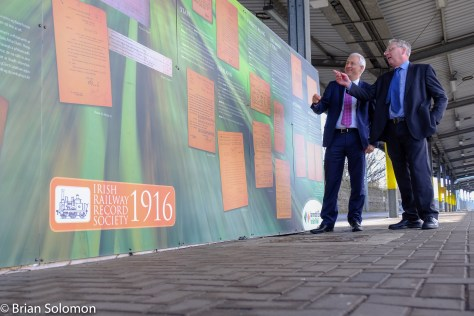 Irish Rail's Barry Kenny and Irish Railway Record Society's Peter Rigney pose with the historical display on Platform 1 at Heuston Station. FujiFilm X-T1 digital photo.
