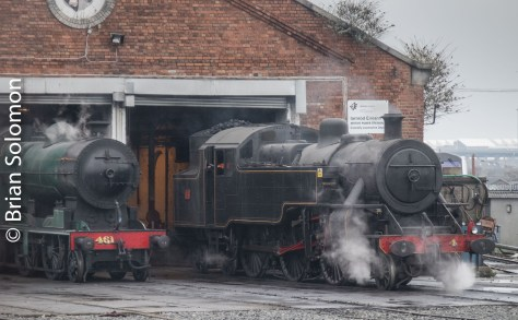 Connolly shed with two locomotives in steam.