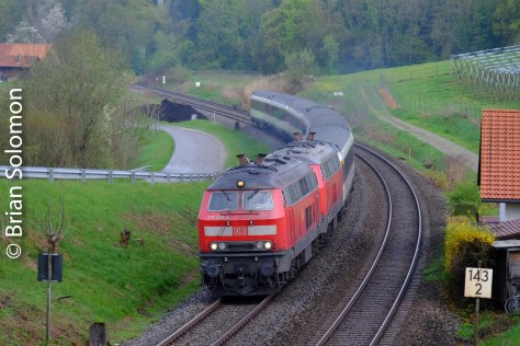 Double headed rabbit climbing east from Lindau with a Zurich-Munich IC train.