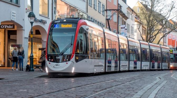 Freiburg, Germany: New Tram on Cobblestone Streets.