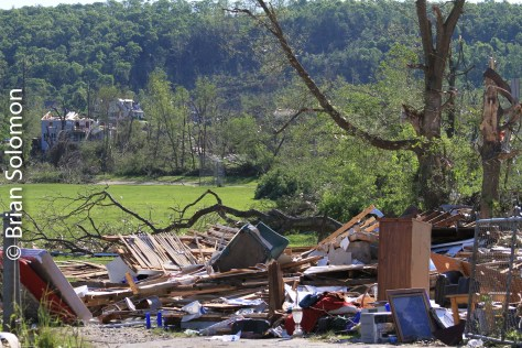 Tornado damage in Monson as seen on June 3, 2011.
