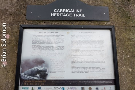 A sign illustrating the history of the Cork, Blackrock & Passage at Carrigaline, Co. Cork.