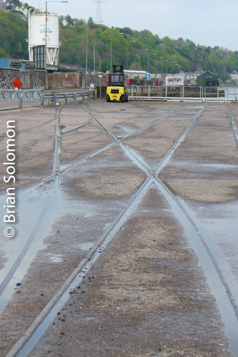 Quayside trackage on the Cork City quay.