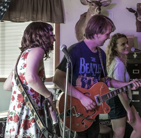 The Franklin County Sweethearts; Rosie Porter playing bass and singing with Tommy LeBeau, and Lexi Weege.