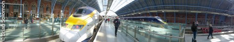 Panoramic composite of our Eurostar set under the famous shed.