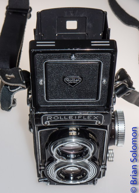 One of four Rolleiflex Model T twin-lens rangefinders that I've exposed photos with over the years. My dad's first Rollei had gray leather. I wore that camera out in the late 1980s. This is one of the replacements.