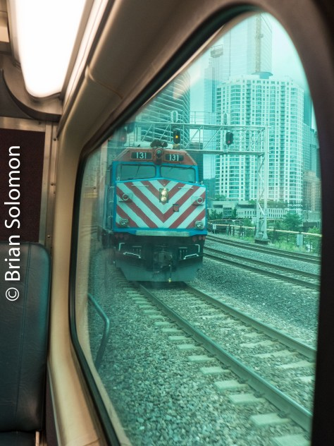 View through the window approaching Ogilvie Transportation Center Chicago.