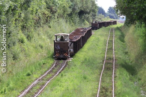 A pair of Bord na Mona loaded trains work west toward Lanesborough, County Longford on August 9, 2013.