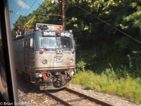 I though I saw a ghost! Here's one of Amtrak's AEM-7s working out its final miles on Maryland MARC at Baltimore.