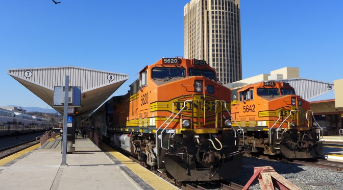 Blinded by the Brightness: BNSF GE AC4400CWs work passenger trains—Los Angeles July 2016.