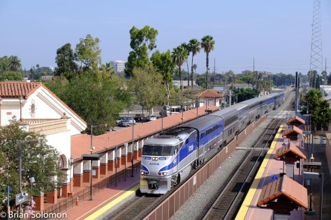 Amtrak 566 Pacific Surfliner slows for its station stop.