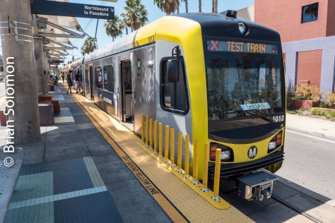 Test train at Atlantic, the new terminal for the Gold Line in East LA.