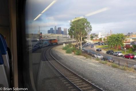 Rolling toward Los Angeles Union Station behind a BNSF AC4400CW.