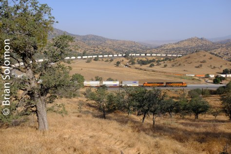 A southward BNSF intermodal train ascends the loop at Walong, California. In SP days the railroad was viewed on an east-west axis (west being San Francisco). Today, present owner Union Pacific deems the directions of operation north-south (regardless of compass.