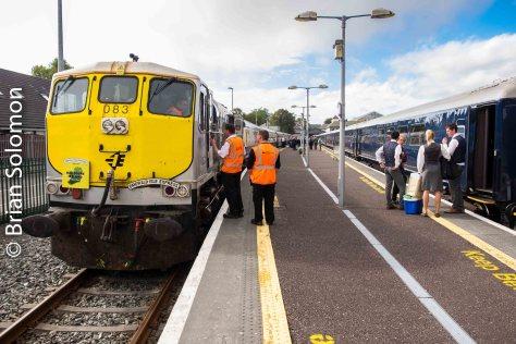 Rail Tours Ireland's Emerald Isle Express and Belmond's Grand Hibernian occupy adjacent tracks at Killarney on 28 September 2016.