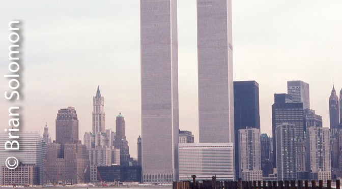 World Trade Center as viewed from the site of the Pennsylvania Railroad Jersey City car ferries—April 1983.