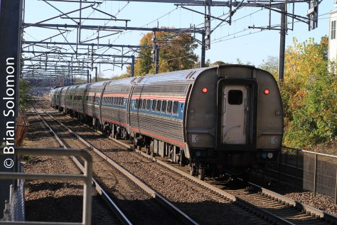 Amtrak train 71 at Hyde Park, Massachusetts on October 25, 2014.