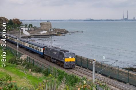 Irish Rail training special passes Seapoint, Dublin on 25 October 2016.