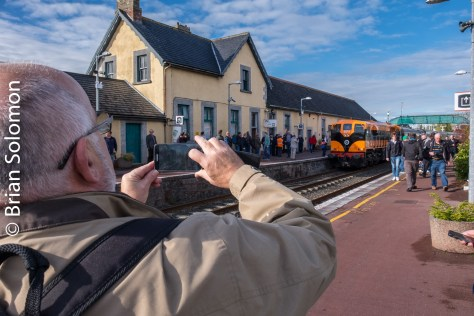 Photographers were looking for angles at Ennis, County Clare. The station shadow made for a challenging used of light.